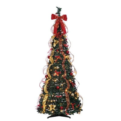 Pop up Green Fir Fully Decorated Christmas Tree