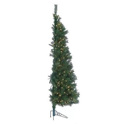 Prelit 7ft. Green Pine Half Christmas Tree